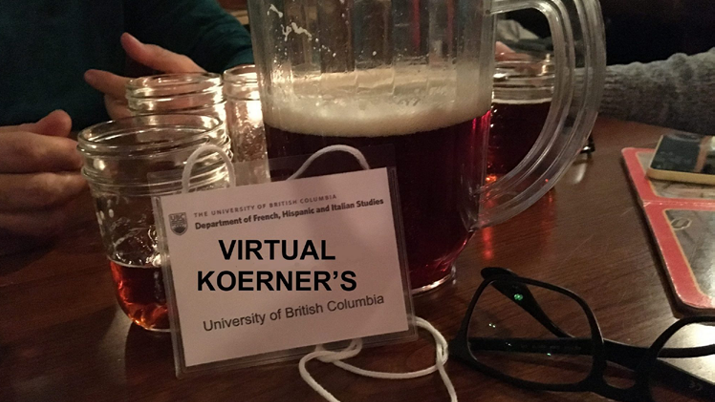 A jug of beer on a table at UBC's Koerner's Pub