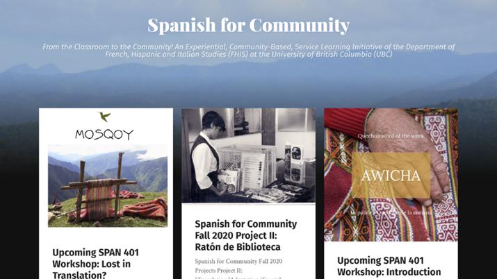 Screenshot of the UBC Spanish for Community homepage website.