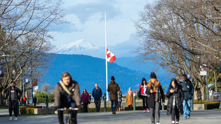 Flag lowered at UBC campus.