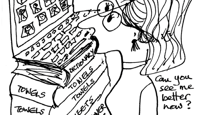 Cartoon of a woman on a laptop video call, using ordinary house objects as a laptop stand.